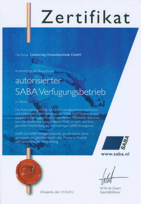 SABA Zertifikat