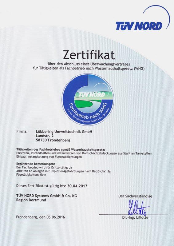 Zertifikat nach §19 I Wasserhaushaltsgesetz