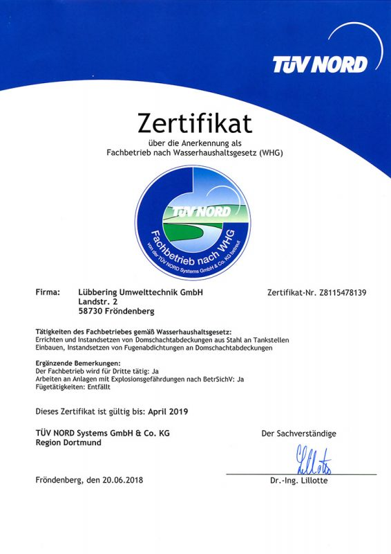 Zertifikat WHG