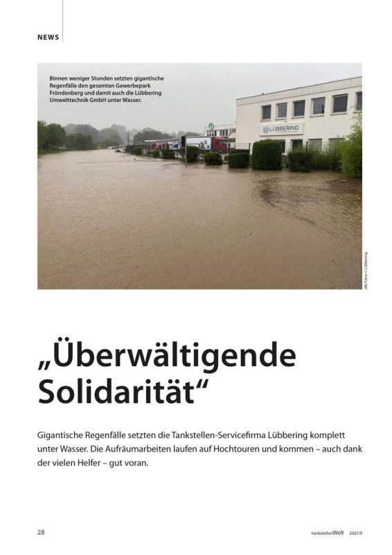 """Bericht über das Hochwasser in der """"tankstellenWelt"""", Ausgabe 9/2021"""