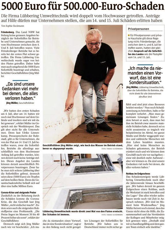 """Bericht in der """"Westfalenpost"""", Ausgabe vom 31.08.2021"""